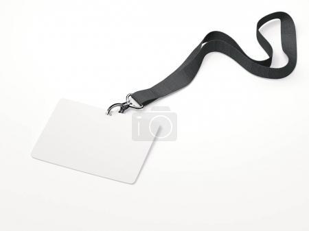White horizontal badge with ribbon. 3d rendering