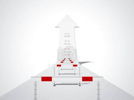 Hurdling on the white arrow. Success concept. 3d rendering