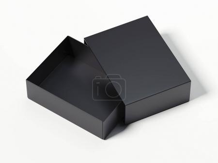 Black opened box. 3d rendering