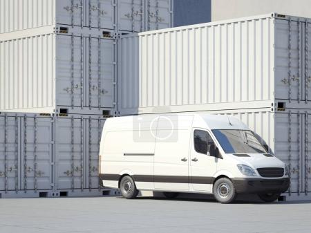 Minivan near white storage containers. 3d rendering