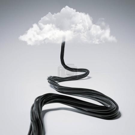 Black wire tends to the clouds. 3d rendering