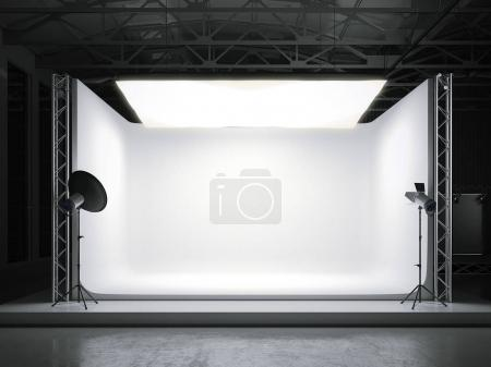 Professional photostudio with softbox. 3d rendering
