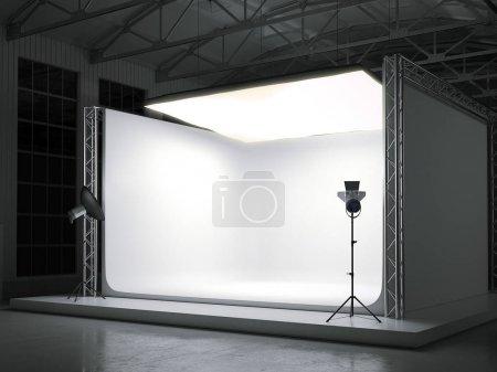 Photo pour Photostudio professionnel moderne avec grand softbox. Rendu 3d - image libre de droit