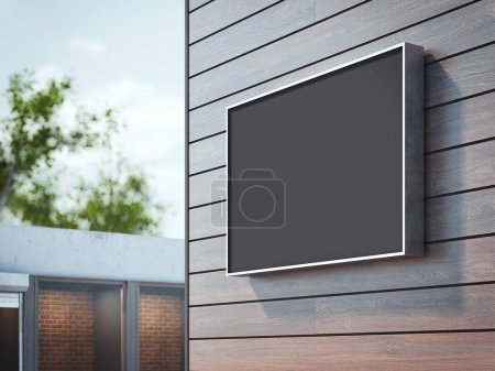 Black signboard on wall of a building. 3d rendering