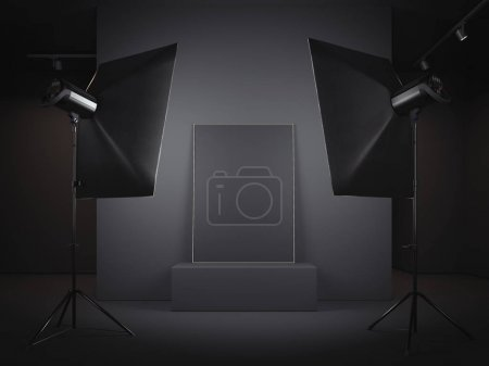 Dark photo studio with picture frame. 3d rendering