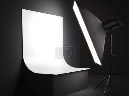 Photostudio with a bright background for a subject survey. 3d rendering