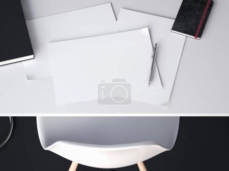 A few sheets for sketches on the table. 3d rendering