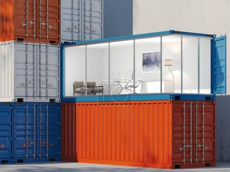 Freight containers. One container is converted into an office. 3d rendering