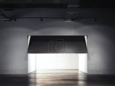 Underground parking with opening door. 3d rendering