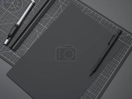 Office cutting board with ruler, pencil and black paper. 3d rendering