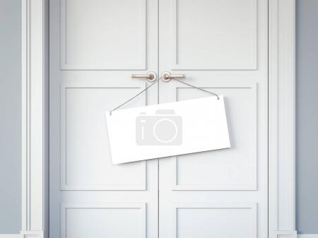 White doors and signboard on the handles. 3d rendering