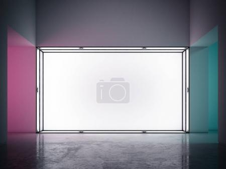 Showcase with blank wall and light inside. 3d rendering