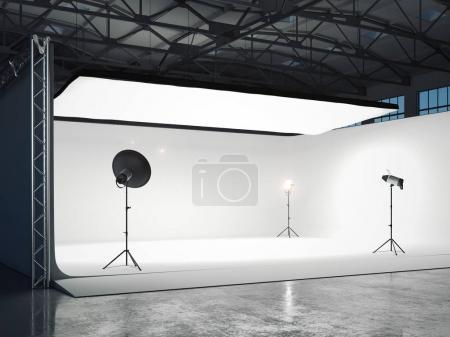 Photo pour Grand studio photographique avec plusieurs sources lumineuses. Rendu 3d - image libre de droit