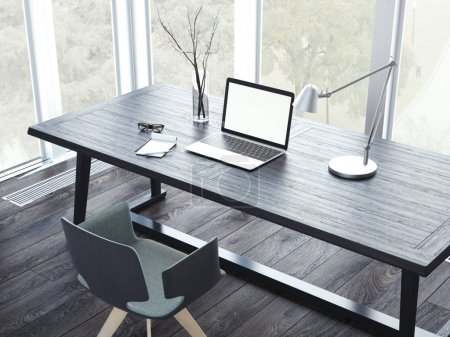 Photo for Comfortable working place with laptop in the modern interior. 3d rendering - Royalty Free Image
