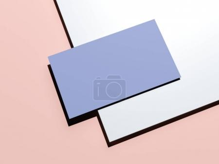 Blue-pink branding mockup with sheet of paper and business card. 3d rendering
