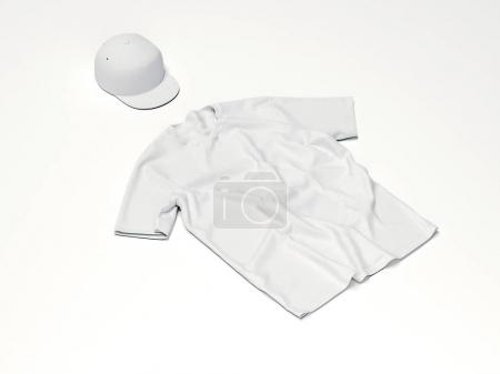 Blank t-shirt and cap. 3d rendering