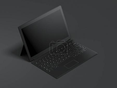 Modern opened tablet isolated on dark background. 3d rendering