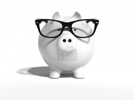 White piggy bank with clear glasses. 3d rendering