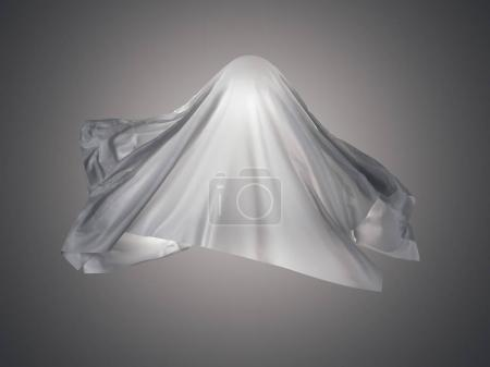 White fabric in shape a ghost. 3d rendering