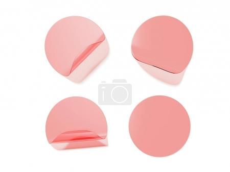 Four round transparent stickers. 3d rendering