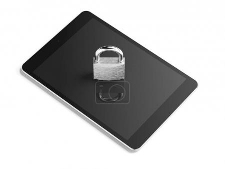 Silver padlock on tablet pc. 3d rendering