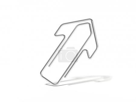 Metal arrow-shaped clip isolated. 3d rendering