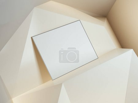 Blank white banner in yellow studio. 3d rendering