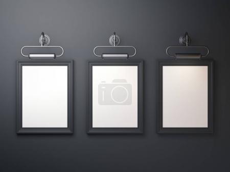Three black picture frames on dark background. 3d rendering