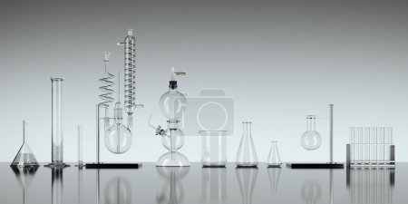 Glass chemistry lab equipment on white background. 3d rendering
