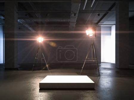 Empty podium and two spotlights. 3d rendering