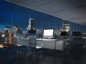 Empty night office interior with bright display . 3d rendering