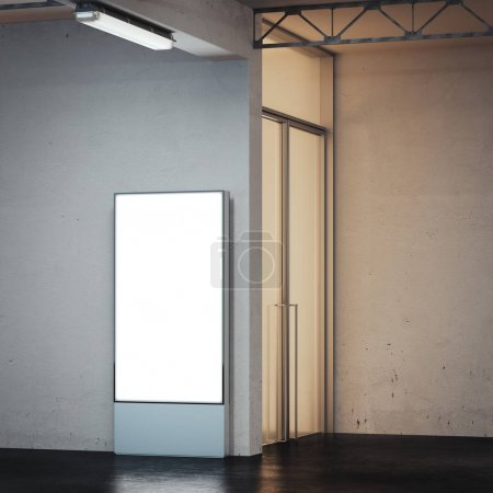 Banner with bright screen in underground interior. 3d rendering