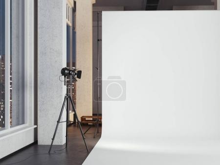 Modern photo studio with blank white background. 3d rendering