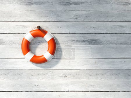 Red lifebuoy on a white wall. 3d rendering