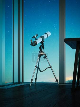 Telescope aimed at the night sky. 3d rendering