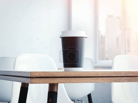 Table in the restaurant with a cup of coffee. 3d rendering