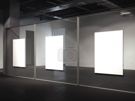 Gallery with three blank posters. 3d rendering