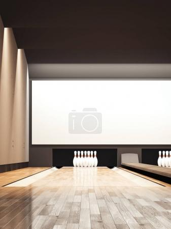 Bowling alley. 3d rendering