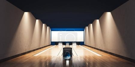 Modern bowling interior. 3d rendering