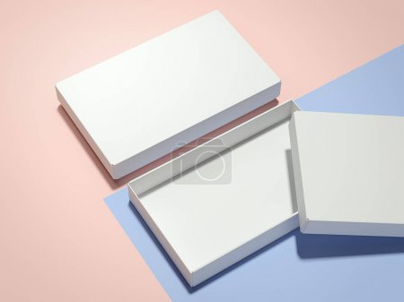 Two white boxes . 3d rendering