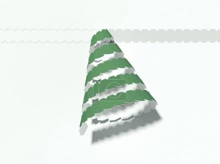 Tear-off tape in shape of christmass tree. 3d rendering