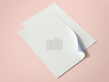 Two bright paper sheets. 3d rendering