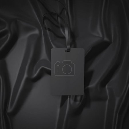 Black badge with ribbon. 3d rendering