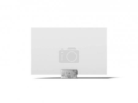 Blank white business card on the metal stand. 3d rendering