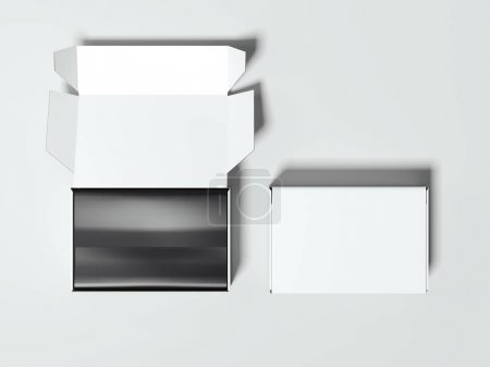 Opened and closed white packages. 3d rendering