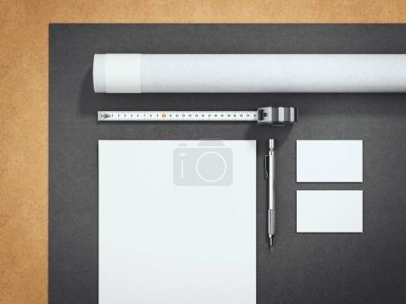 Gray architectural business mockup. 3d rendering
