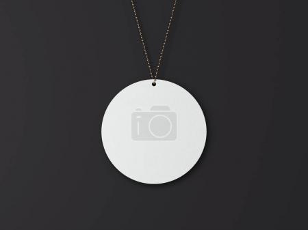 White tag with golden chain. 3d rendering