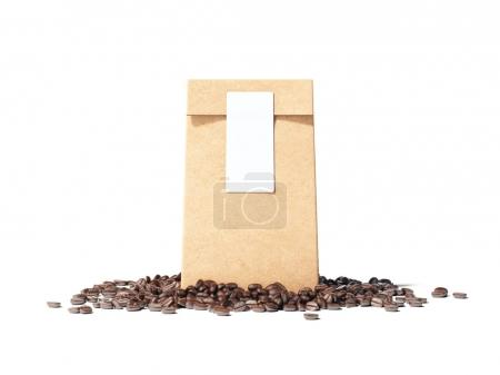 Brown package with blank sticker and coffee beans. 3d rendering
