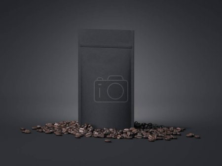 Black package and coffee beans. 3d rendering