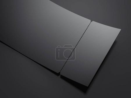 Blank black tear-off ticket. 3d rendering